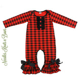 Girls Buffalo Plaid Romper, Baby Girls Long Sleeve Buffalo Plaid Romper, Girls Christmas Outfit