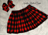 Girls Santa Baby Top w/ Buffalo Plaid Skirt Set, Baby Girls Santa Baby Christmas Outfit