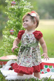 Girls Christmas Dress, Baby Girls Christmas Holly Peasant Dress, Holiday Dress, Sizes NB - 8