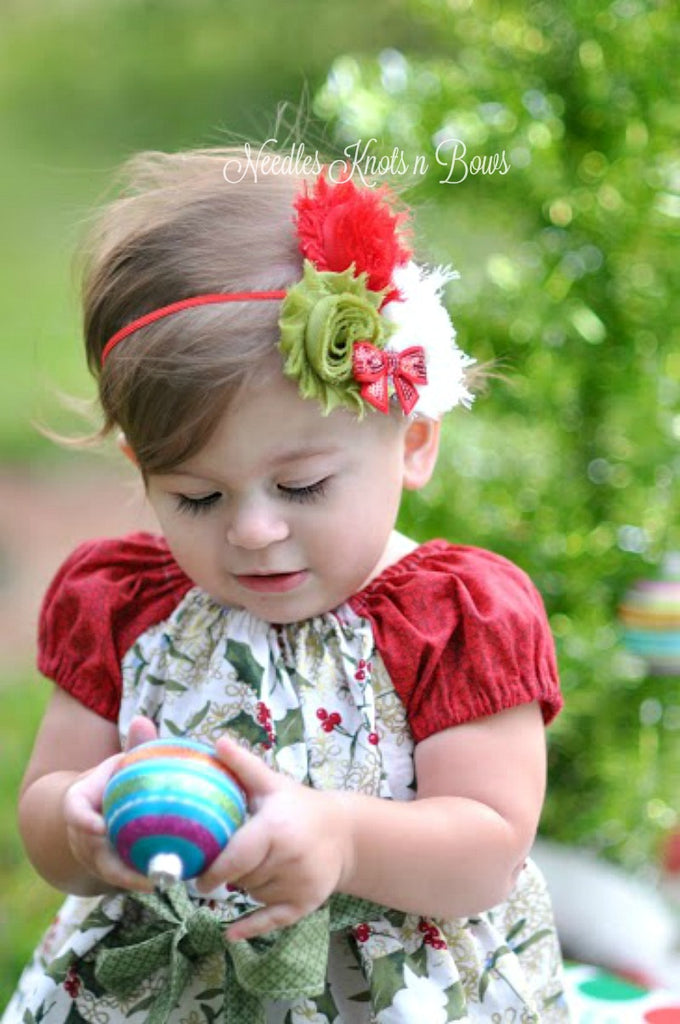 Christmas Headband For Baby Girl.Girls Christmas Shabby Chic Flower Headband Girls Headband Baby Girls Accessories