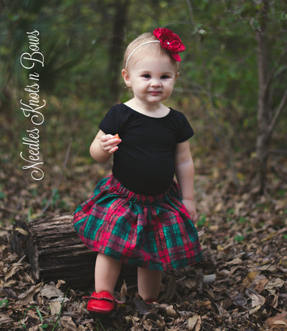 Girls Christmas Plaid Skirt, Baby Girls Christmas Skirt , Girls Plaid Skirt