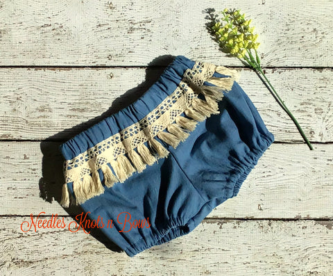 Girls Denim Boho Chic Bloomers w/ Fringe, Baby Girls Denim Bloomers, Girls Bloomers