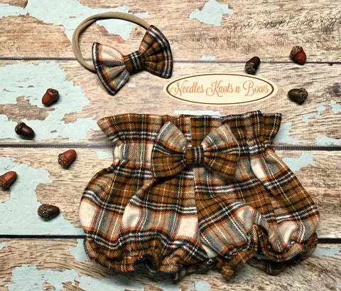 Girls Plaid Boho Bloomers, Plaid High Waist Bloomers, Baby Girls Bloomers, Diaper Cover