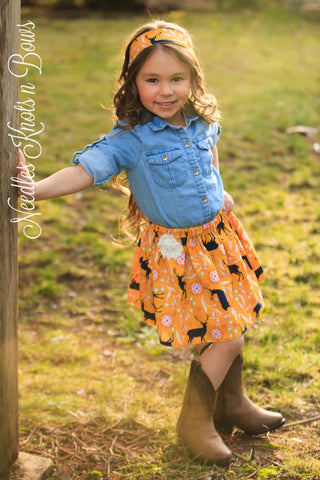 Girls Fall Skirt, Girls Woodland Skirt, Girls Fall Mustard Woodland Skirt, Baby Girls Skirt, Skirts