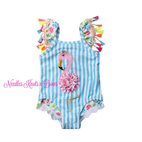 Baby Girls Flamingo Swimsuit, Flamingo Swimsuit w/ Trim,  Girls Whole Piece Swimsuit