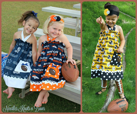 Girls Football Cheerleader Dress, Baby Girls Football Game Day Dress, You Choose Team
