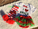 Girls 4pc Grinch Outfit, Baby Girls Grinch Bloomer Outfit, Girls 4pc Christmas Outfit