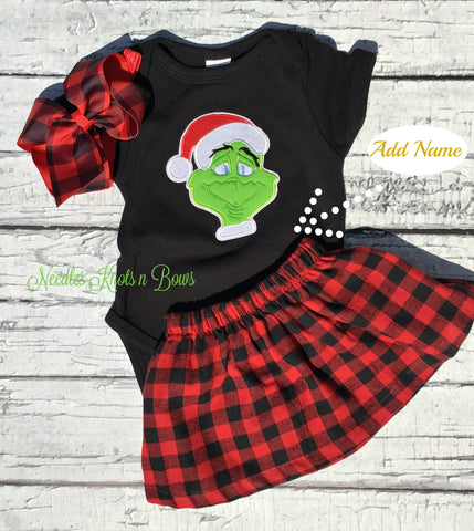 Girls 2pc Grinch Outfit, Girls Christmas Grinch Outfit, Girls Buffalo Plaid Skirt with Grinch Top