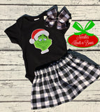 Girls Grinch Outfit, Girls Christmas Outfit, Girls Buffalo Plaid Skirt with Grinch Top