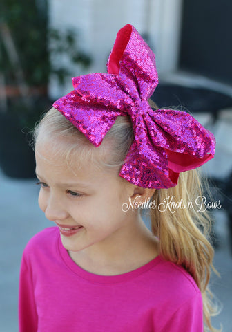 "Girls 8"" Hot Pink Sequin Hair Bow, Jumbo Pink Sequin Hair Bow, Hair Accessories"