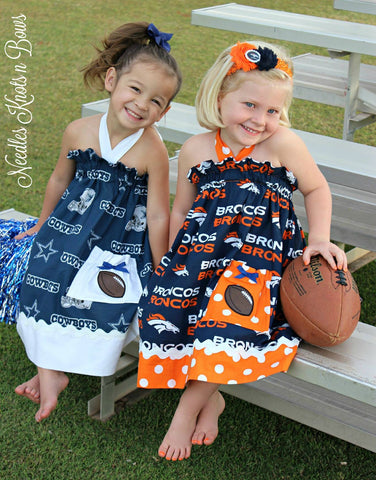 Girls Denver Bronco's Dress, Bronco's Football Game Day Dress, Baby Girls Cheerleader Dress