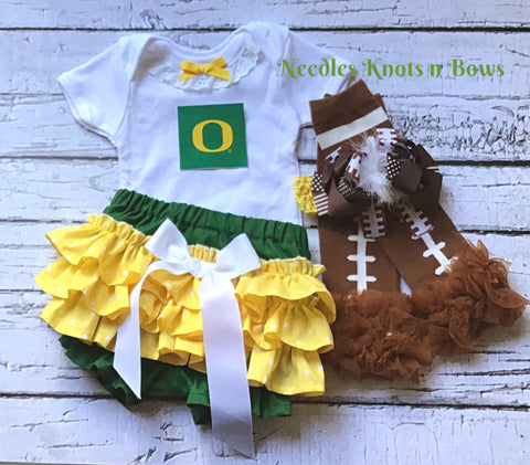 Girls Oregon Ducks Outfit, Coming Home Outfit, Baby Girls Oregon Ducks Football Outfit