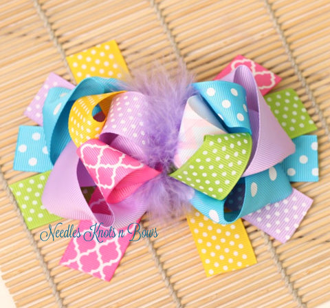 Girls Easter Hair Bow, Over the Top Pastel Ribbon Feather Layered Boutique Hair Bow