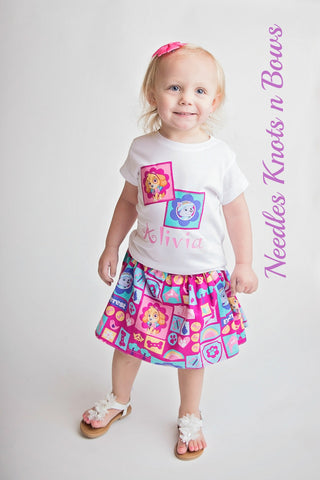 Girls Paw Patrol Outfit, Girls Paw Patrol Birthday Outfit, Girls Paw Patrol Skirt, Girls Clothes, SKYE