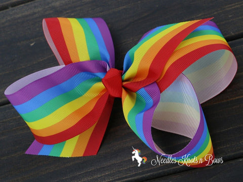 "Girls 6"" Rainbow Hair Bow to match all her fun Unicorn, Rainbow and other fun outfits"