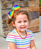 "Rainbow Hair Bow, Girls 6"" Rainbow Bow, Back to School, Birthday"