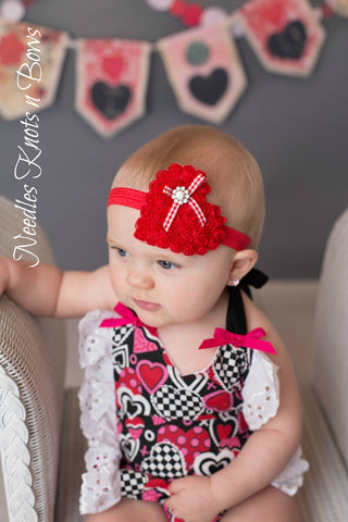 Girls Valentines Day Headband, Red Heart Headband, Shabby Chic Headband, Valentines Headband
