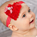 Valentines Day Headband, Heart Headband, Red Shabby Chic Heart Valentines Day Headband