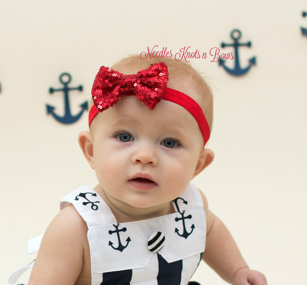 69c7e39bfd43 Girls Red Sequin Bow Headband