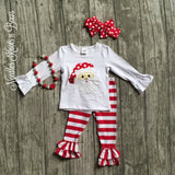 Girls 2pc Christmas Outfit, Girls Santa Top with Red & White Striped Ruffled Leggings Szs: 2 - 8