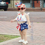 Girls 4th of July Outfit, Baby Girls 4th of July Bloomer Crop Top Outfit, Patriotic Outfit, Miss USA Outfit