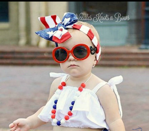 Girls 4th of July Bloomers & Headwrap Set, Memorial Day, Veterans Day, Patriotic Outfit, Girls 4th July Outfit