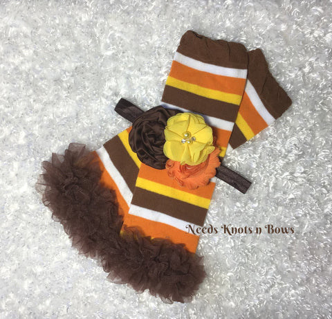 Fall Thanksgiving Leg Warmer Headband Set, Striped Leg Warmers, Fall Headband, Ruffled Legwarmers