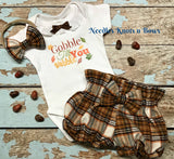 Girls 3pc Thanksgiving Outfit, Baby Girls Gobble Til You Wobble Outfit, Girls 1st Thanksgiving