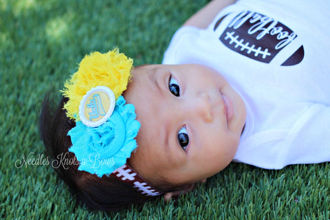 UCLA Bruins Headband, Girls UCLA Shabby Chic Football Headband, College Team Headbands, Womens, Baby Girls UCLA Headband