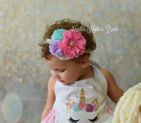 Girls Pink - Lavender & Aqua Chiffon Flower Headband, Unicorn Headband, Baby Girls Birthday Headband