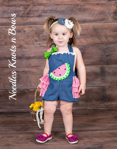 Girls Watermelon Romper, Girls Watermelon Pageant Outfit, Girls Watermelon Birthday Romper / Outfit