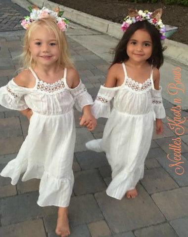 Girls White Cold Shoulder Bohemian Flower Girls Dress ...