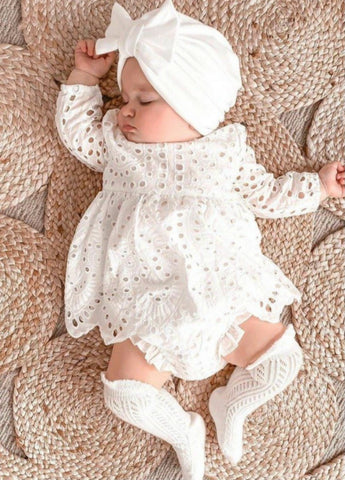 Girls White Baptism Dress, White Eyelet Dress & Bloomer Set, Christening Dress, Girls Easter Dress