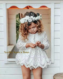 Baby Girls White Eyelet Dress, Baptism Dress, Christening Dress, Flower Girls Dress