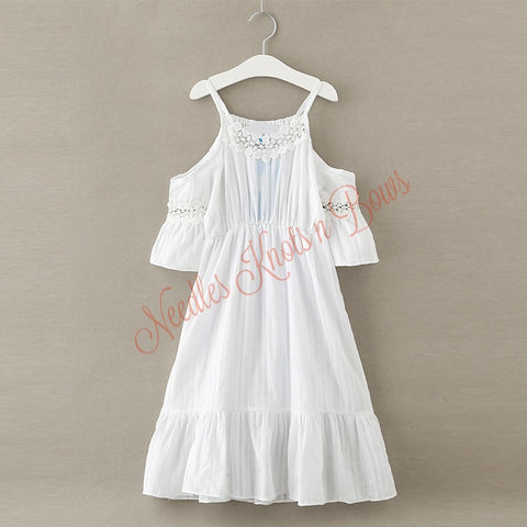 3b8979d7d Girls White Cold Shoulder Bohemian Flower Girls Dress