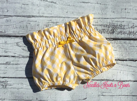 Yellow Gingham Bloomers, High Waist Boho Bloomers, Baby Girls, Toddlers, Boho Bloomers,