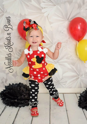 Girls Minnie Mouse Romper, Girls Minnie Mouse First Birthday Outfit, Minnie Mouse Birthday
