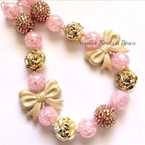 Girls Pink & Gold Chunky Bead Bubblegum Necklace, Girls Jewelry, Girls Accessories