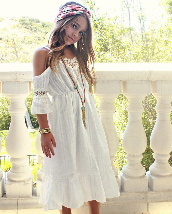 Girls White Over the Shoulder Bohemian Style Dress ...