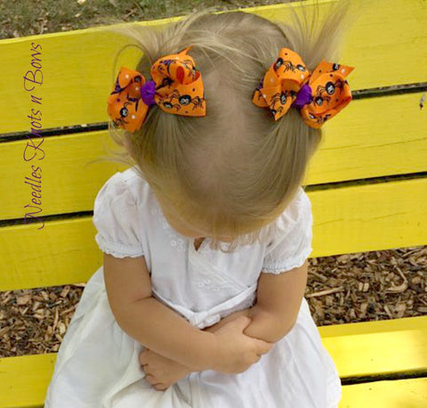 Girls Halloween Hair Bows, Set of 2 Halloween Pigtail Bows, Spider Hair Bows