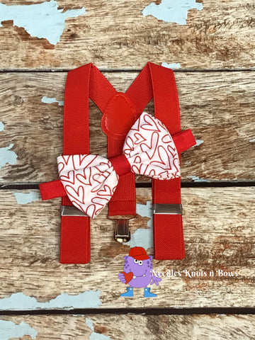 Red Hearts Bow Tie, Valentines Bow Tie, Hearts on White, Valentine Bow Tie Suspender Set