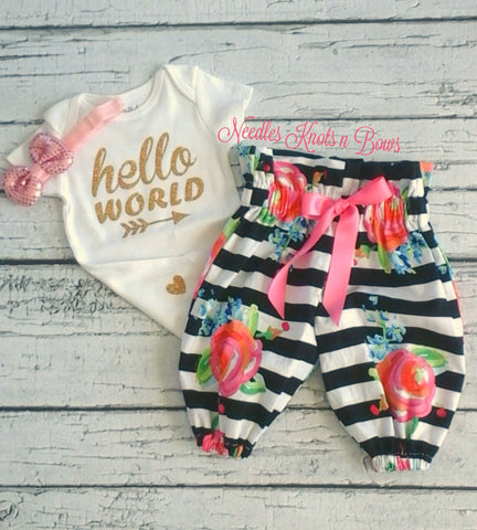 Baby Girls Coming Home Outfit Girl, Hello World Onesie, Baby Girls Pants Outfit