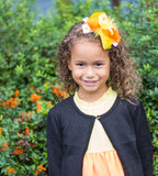 Girls Candy Corn 5.5 OTT Feather Centered Headband, RTS, Layered Boutique Hair Bow, Over the Top Halloween Headband