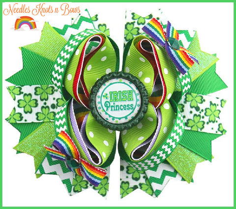 Girls Saint Patricks Day Hair bow, Irish Princess Layered Boutique Hair Bow, Shamrocks & Rainbows Hair Bow