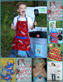 Girls Apron, Strawberry Apron, Toddlers, Kids Cooking Apron, Fruit Print, Childs Apron