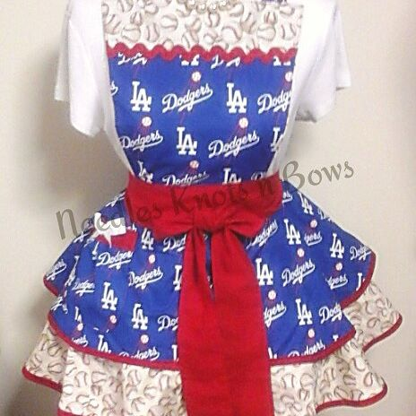 LA Dodgers Womens Apron, Womens Flirty Los Angeles Dodgers Baseball Apron, Game Day
