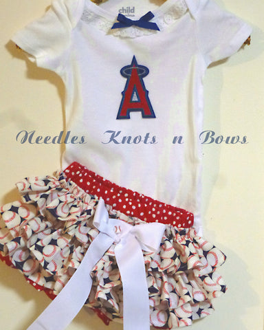 Girls LA Angels of Anaheim Baseball Game Day Outfit, Baby Girls Angels Coming Home Outfit
