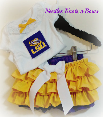 Girls Louisiana State University Cheerleader Outfit, Baby Girls LSU Tigers Football, Game Day
