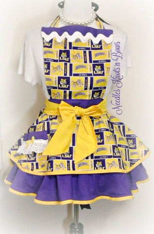 LSU Tigers Womens Apron, Louisiana State University Womens Flirty Hostess Apron, Tigers Football, Baseball Game Day Apron