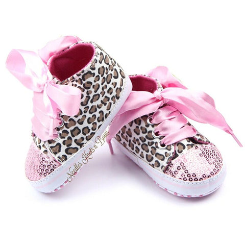 Girls Leopard Print Sequin Shoes with Pink Silk Laces, Baby Girls Crib Shoes, First Walking Shoes